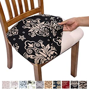 Comqualife Stretch Printed Dining Chair Seat Covers, Removable Washable Anti-Dust Upholstered Chair Seat Cover for Dining Room, Kitchen, Office (Set of 4, Black)