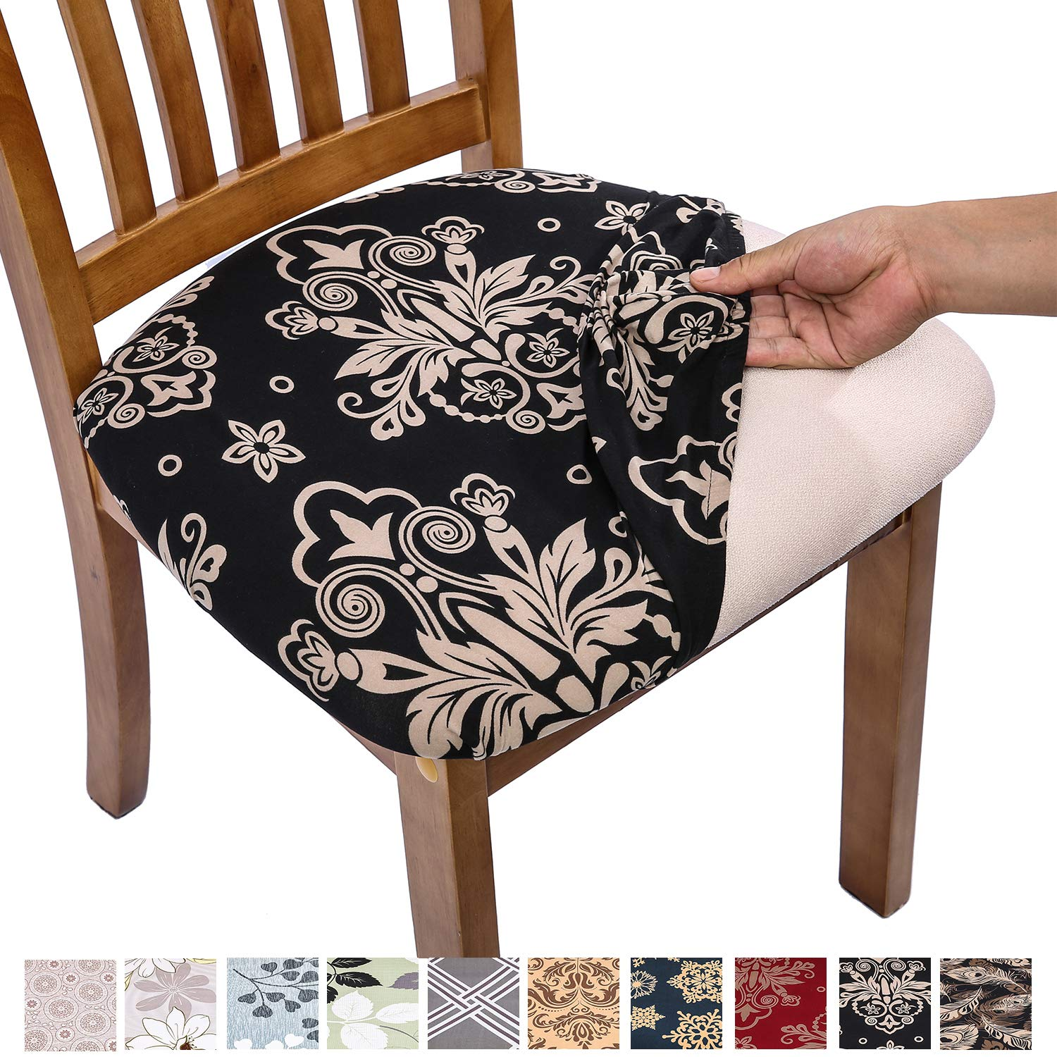 Super Comqualife Stretch Printed Dining Chair Seat Covers Removable Washable Anti Dust Upholstered Chair Seat Cover For Dining Room Kitchen Office Set Caraccident5 Cool Chair Designs And Ideas Caraccident5Info