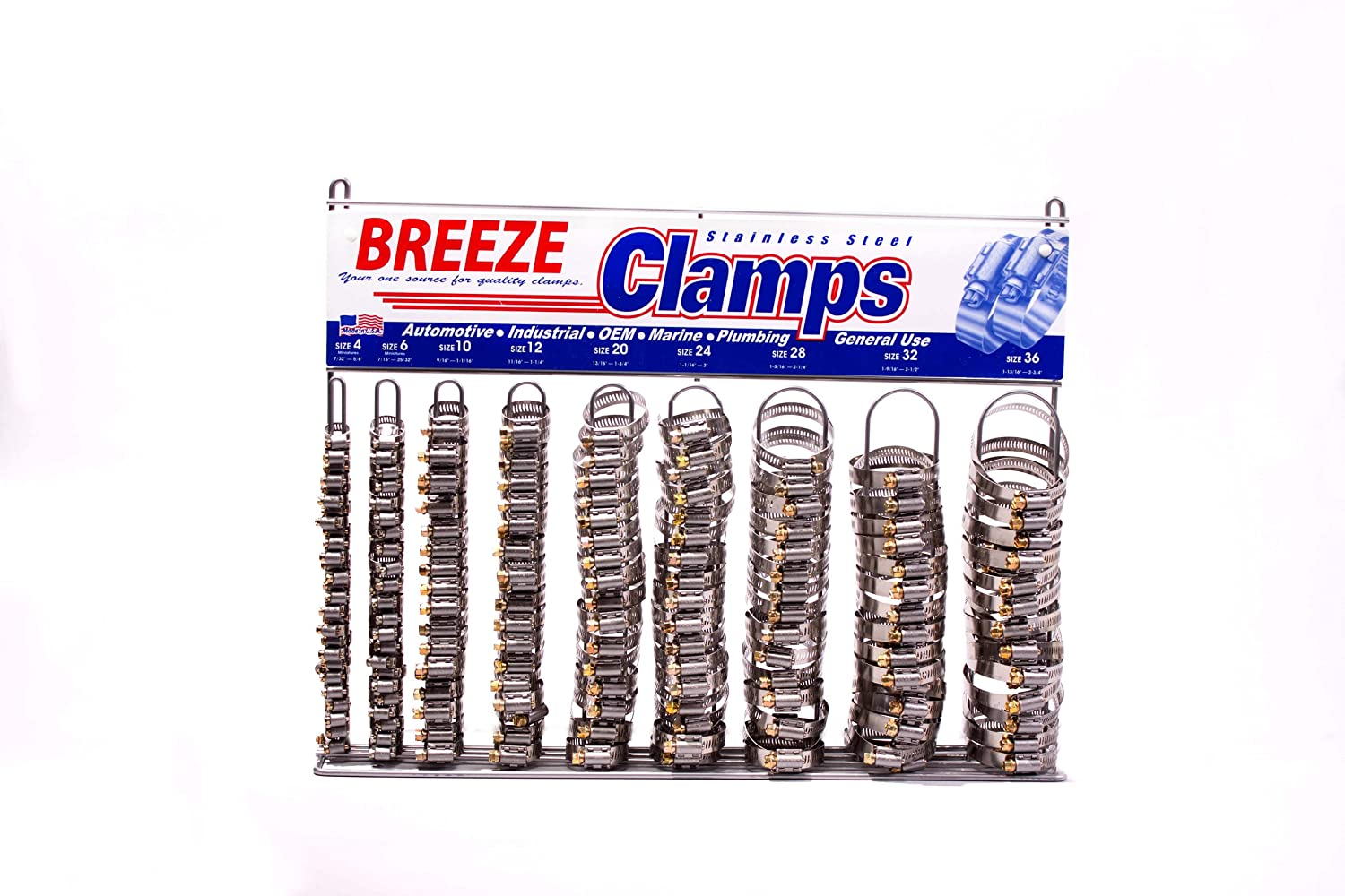 Image of Breeze Hose Clamp Display Assortment, Automotive Assortment, 1 Assortment Contains: 200 Assorted Automotive Clamps, one 6200 Empty Rack Clamps & Sleeving