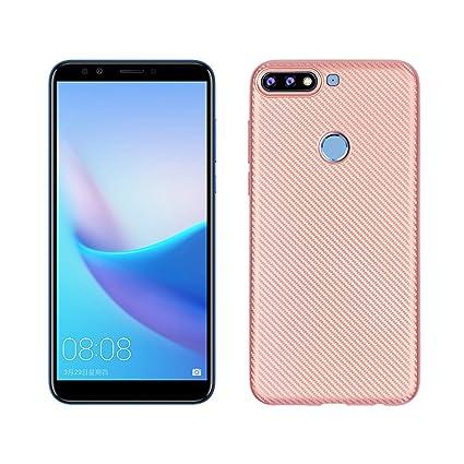 Funluna Funda Huawei Y7 2018, Carcasa Honor 7C - Amortiguador de Parachoques con Fibra De Carbono y Silicona Cubierta Case para Huawei Y7 2018 / Y7 ...