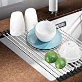 Dish Rack, Aiduy Roll Up Dish Drying Rack Dish Drainer Over the Sink Drying Rack Folding Sink Rack for Kitchen - Premium Stainless Steel