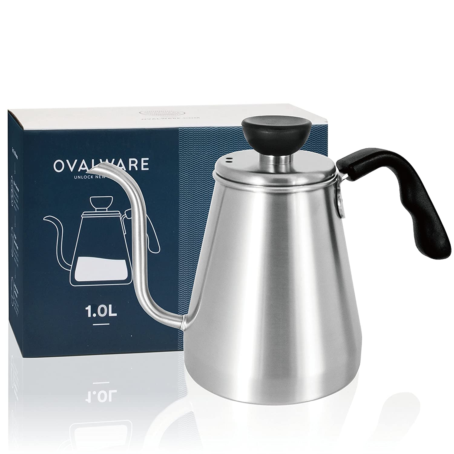 Pour Over Coffee Kettle and Tea Kettle 1.0L / 34oz - Ovalware RJ3 Stainless Steel Drip Kettle with Precision Gooseneck Spout for Home Brewing, Camping and Traveling