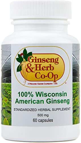 100 Pure Wisconsin American Ginseng Capsules – 500mg. Authentic Panax Quinquefolius. Potent Ground Ginseng Root – No Fillers, Binders or Other Additives.