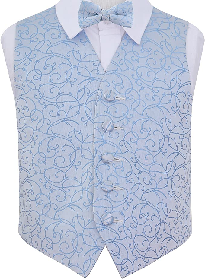 DQT Woven Swirl Patterned Burgundy Page Boys Wedding Waistcoat 2-14 Years