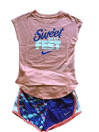 5b6481858 NIKE Girls 2 Piece Short Sleeve Shirt & Shorts Set Outfit Size 4, 5,