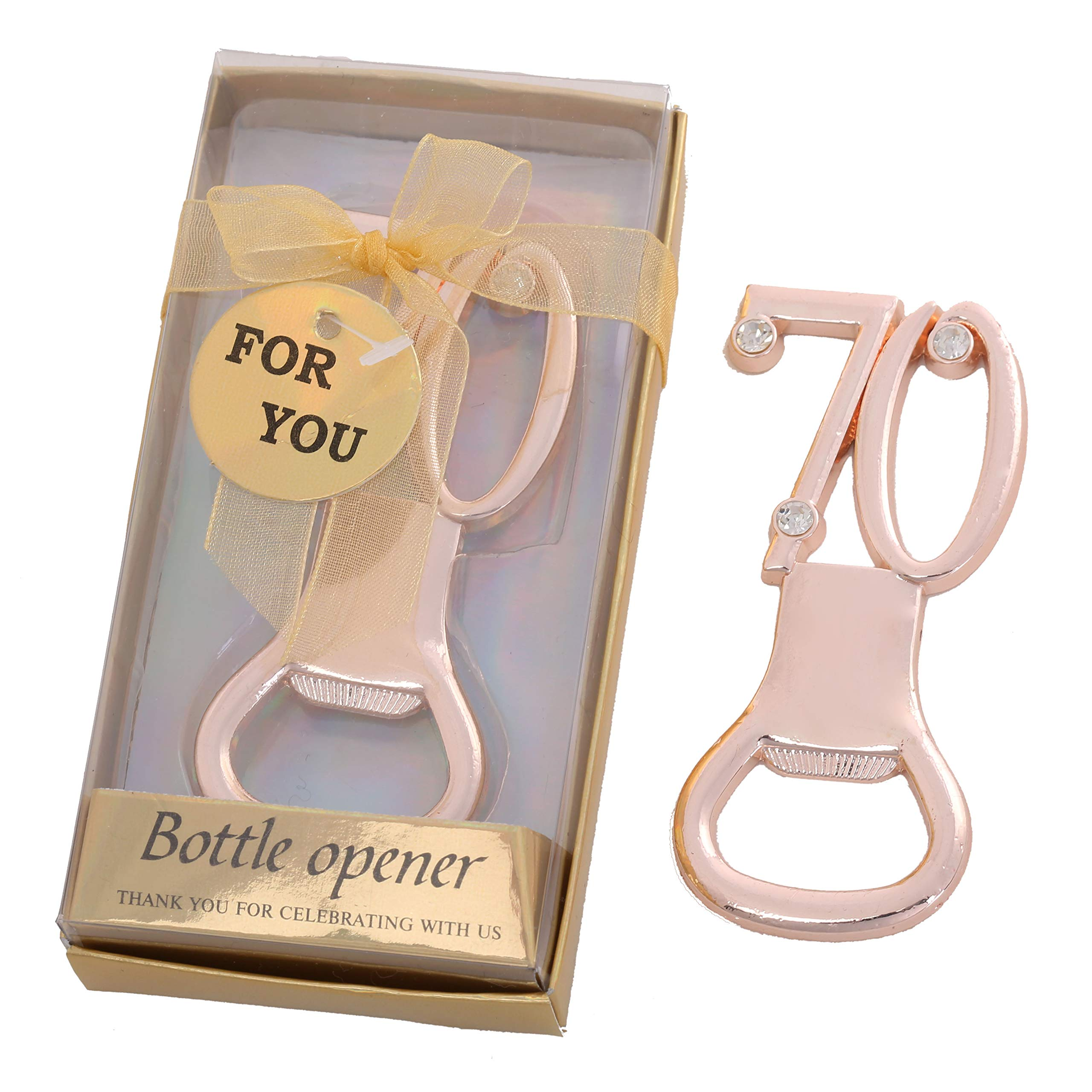 Yuokwer 24 PCS Bottle Openers Gold Birthday Party Favors 70 Anniversary Favors for Guests,Number 70th Birthday Party Decorations Beer Bottle Openers for Party Gift Souvenir Supplies (Gold 70th, 24)