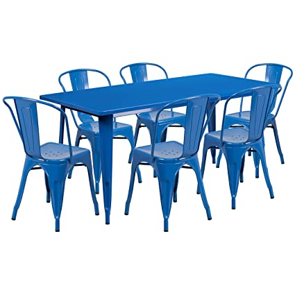 Enjoyable Flash Furniture 31 5 X 63 Rectangular Blue Metal Indoor Outdoor Table Set With 6 Stack Chairs Home Remodeling Inspirations Cosmcuboardxyz
