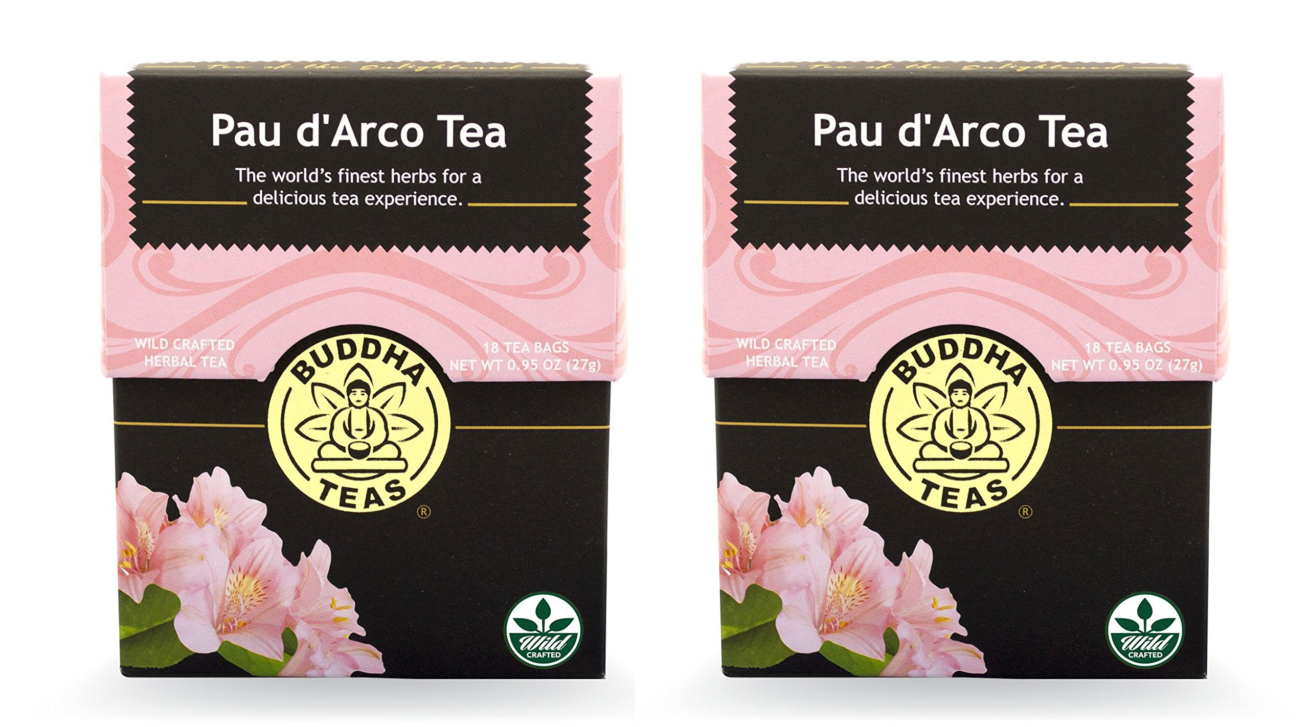 Pau D'arco Tea - Wild Harvested, Kosher, Caffeine Free, GMO-Free - 18 Bleach Free Tea Bags (2 pack)