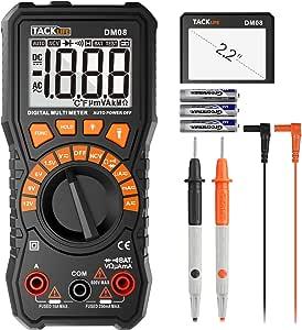 Multímetro, tacklife DM08 multímetro digital/comprobador de pila tensión, con un destornillador para Installez la batería (pila incluida)/lámpara de ...