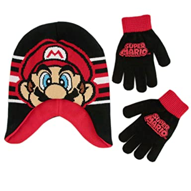 3777cf5b38123 Nintendo Boys  Super Mario Hat and Gloves Cold Weather Set Winter  Accessory