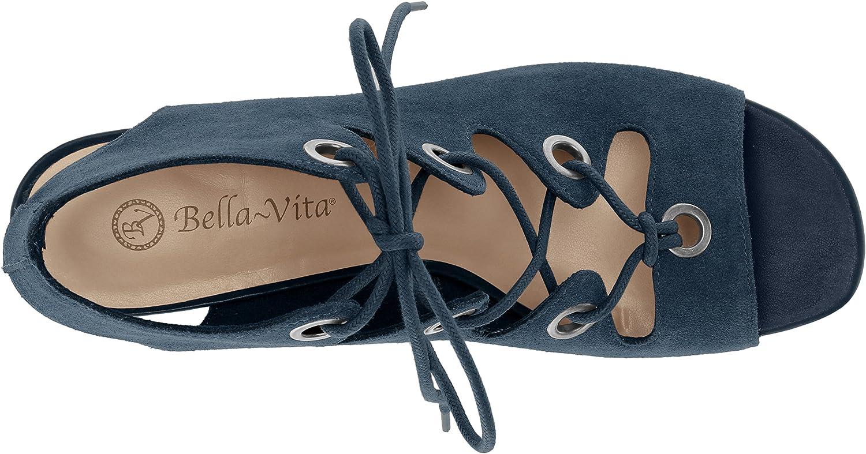Bella Vita Womens Ingrid Wedge Sandal 8 2W US Navy Suede