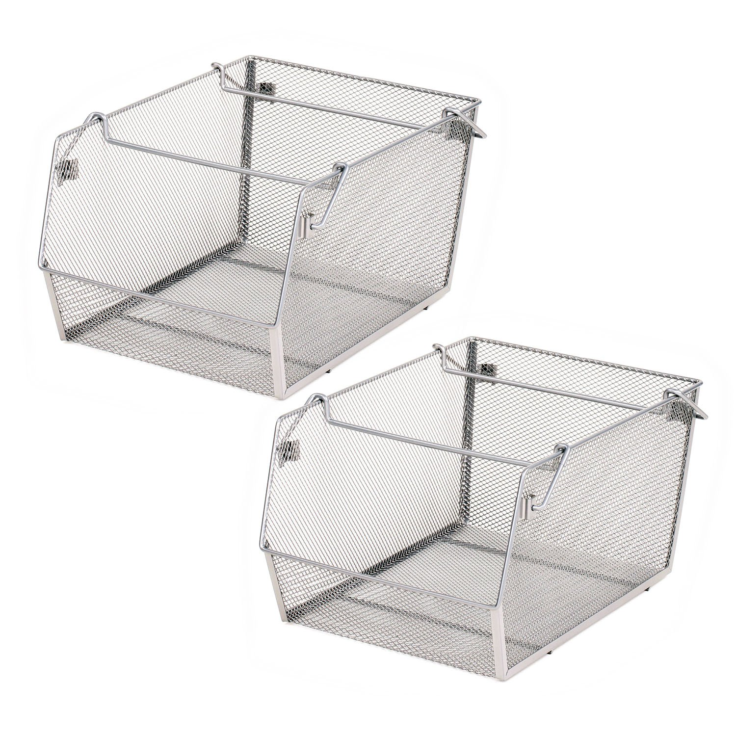 Seville Classics Large Mesh Stacking Storage Bin (2-Pack) Platinum