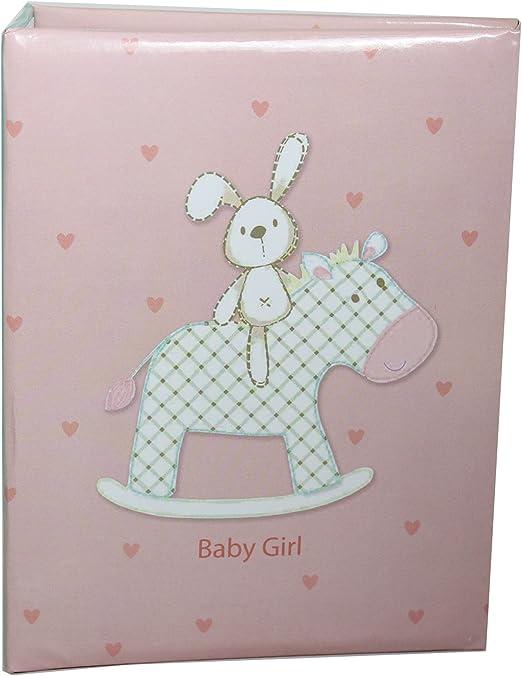 New Baby Photo Album Holds 80 Photos Pink Album with Rabbit