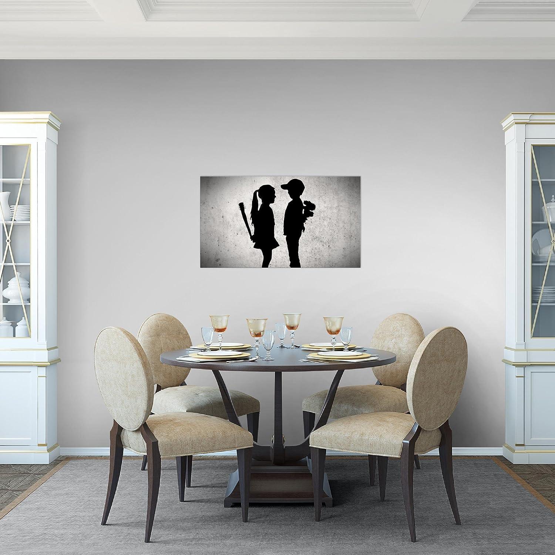 b7e714fcea Bilder Junge trifft Mädchen - Banksy Street Art Wandbild 70 x 40 cm Vlies -  Leinwand Bild XXL Format Wandbilder Wohnzimmer Wohnung Deko Kunstdrucke  Grau 1 ...