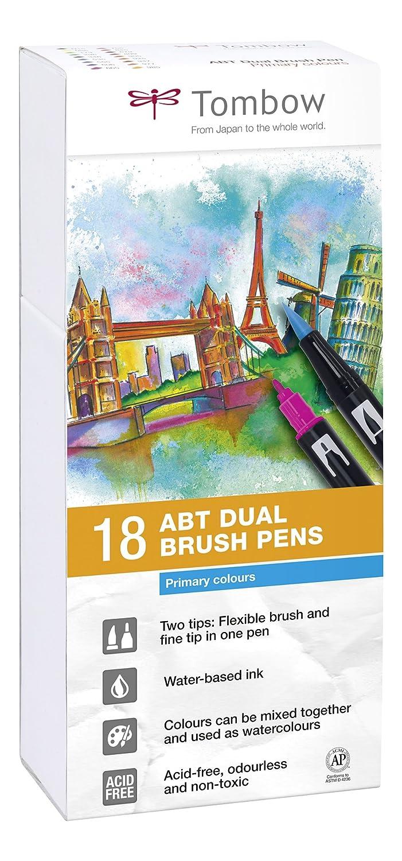 Tombow Dual Brush - Estuche 18 rotuladores doble punta pincel