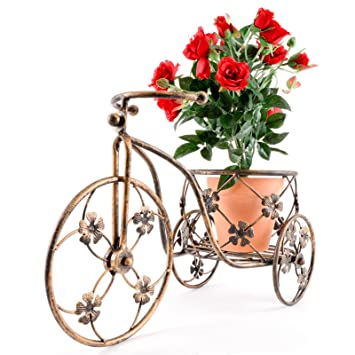 Tricycle Flower Plant Pot Holder Planter Bicycle Metal Garden Outdoor  Ornament