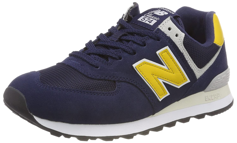 New Balance 574v2, Zapatillas para Hombre 45.5 EU Azul (Pigment/Yellow Brass Smb)