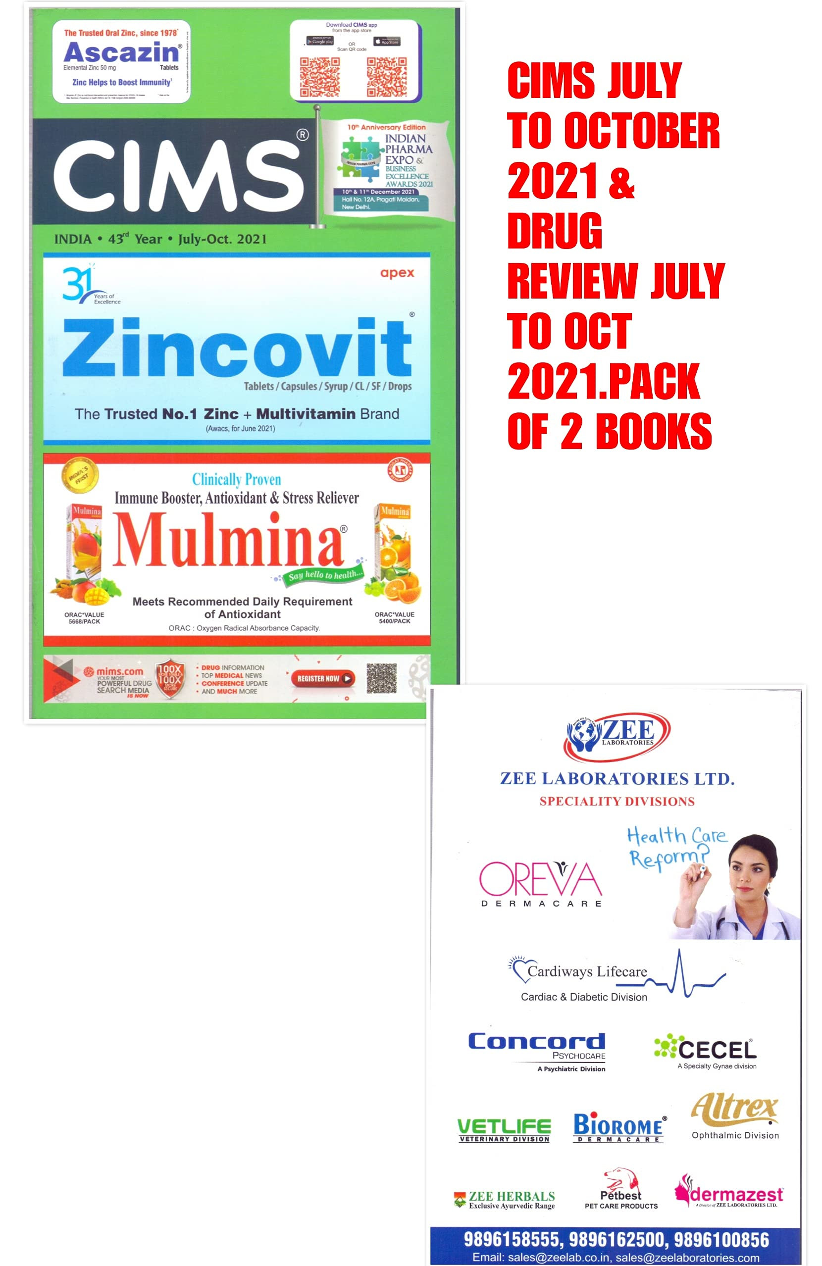 CIMS JULY TO OCTOBER 2021 WITH DRUG REVIEW JULY TO OCTOBER 2021. ( PACK OF 2 BOOKS)