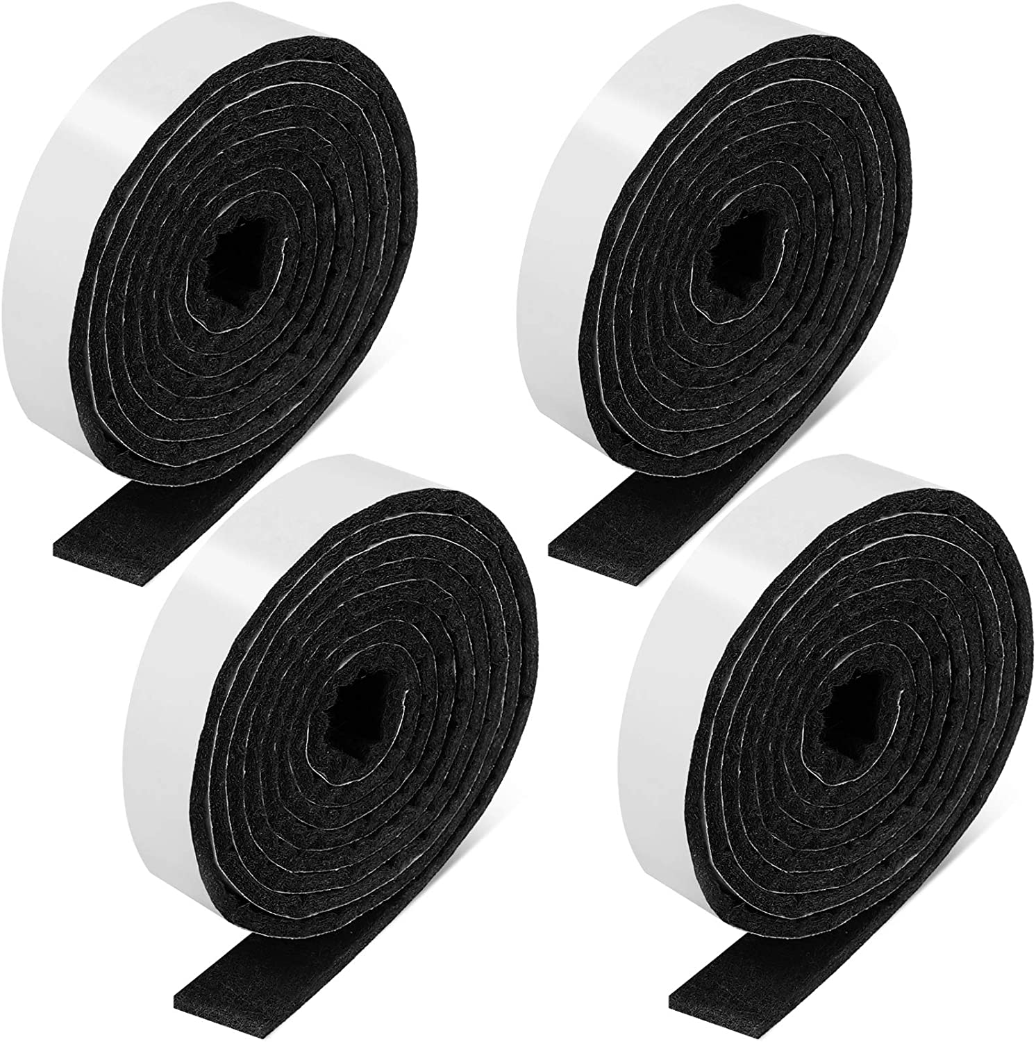 4 Rolls 1/2 x 60 Inch Self-Stick Heavy Duty Felt Strips Self Adhesive Felt Tapes Polyester Felt Strip Rolls for Protecting Furniture and Freedom DIY Adhesive, 240 x 0.5 x 0.12 Inches (Black)