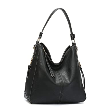 1e76ff27e14e Amazon.com  DDDH Vintage Hobo Handbags Shoulder Bags Durable Leather Tote  Bags Crossbody Purses Bucket Bag For Women Ladies Girls(Black new)  Clothing