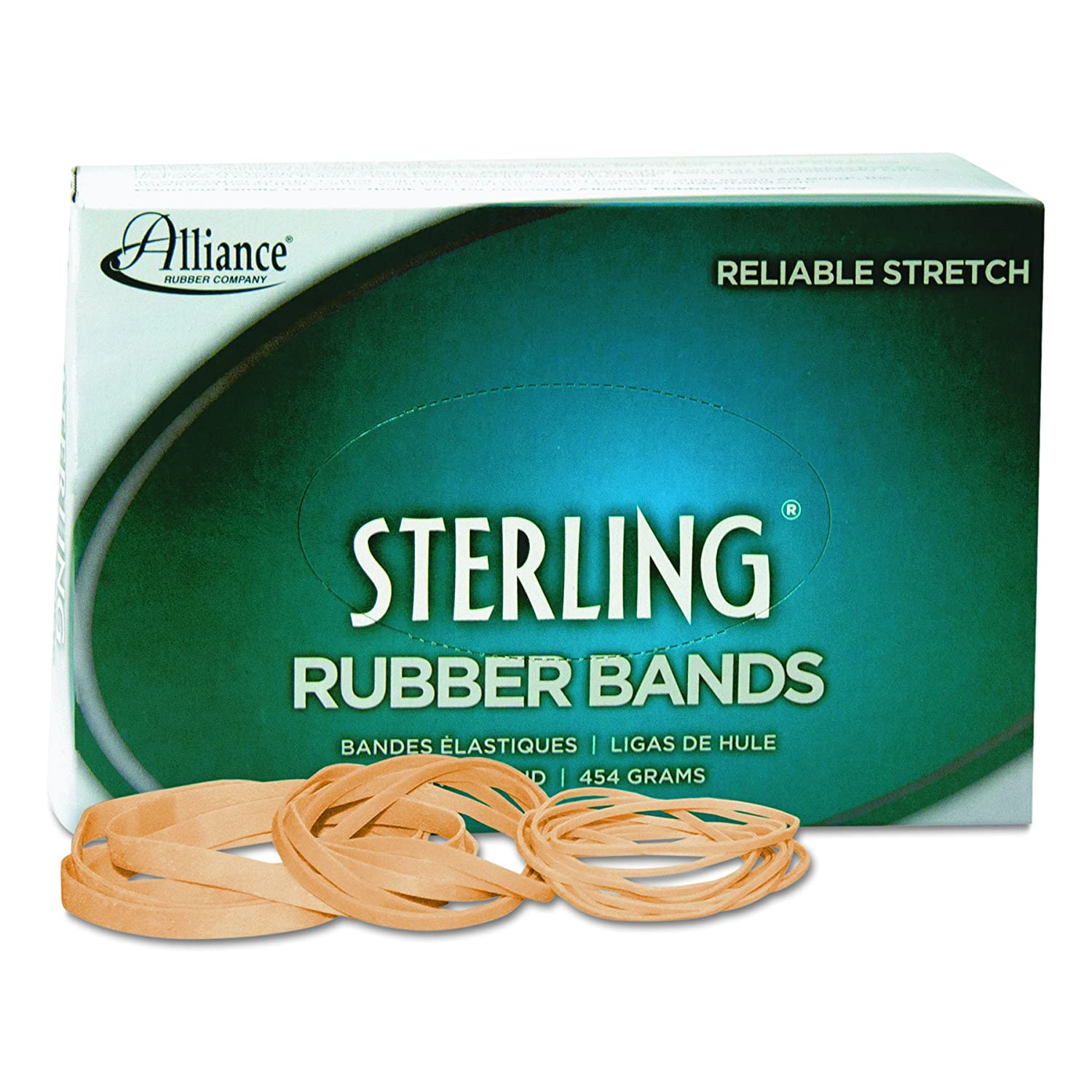 Alliance Rubber 24335 Sterling Rubber Bands Size #33, 1 lb Box Contains Approx. 850 Bands (3 1/2 x 1/8, Natural Crepe) #N/A!