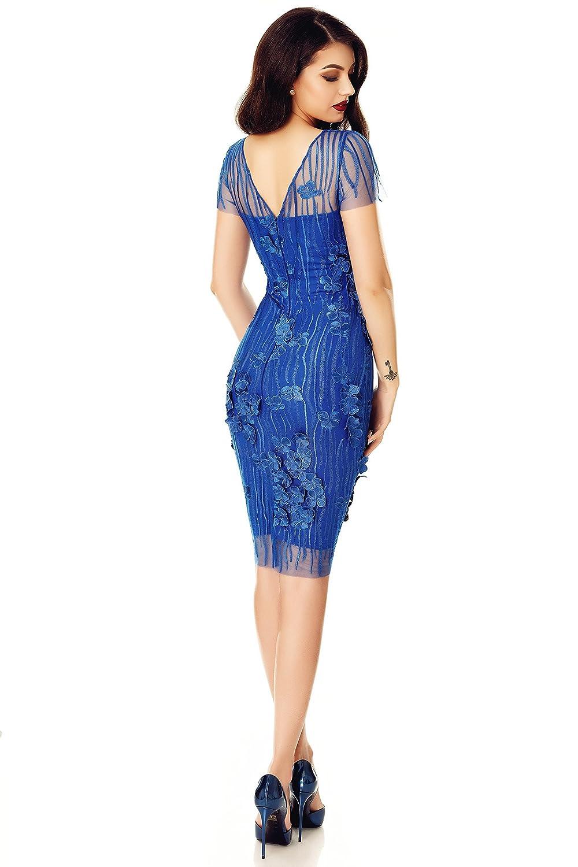 Miss Grey Mujer Elegante Vestido De Fiesta Encaje Bordado Floral Mangas Cortas Ajustado Midi Azul Medium: Amazon.es: Ropa y accesorios