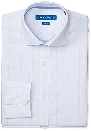 f1bd6c5cb5aa3 Vince Camuto Men s Slim Fit Performance Light Blue Plaid Dress Shirt ...