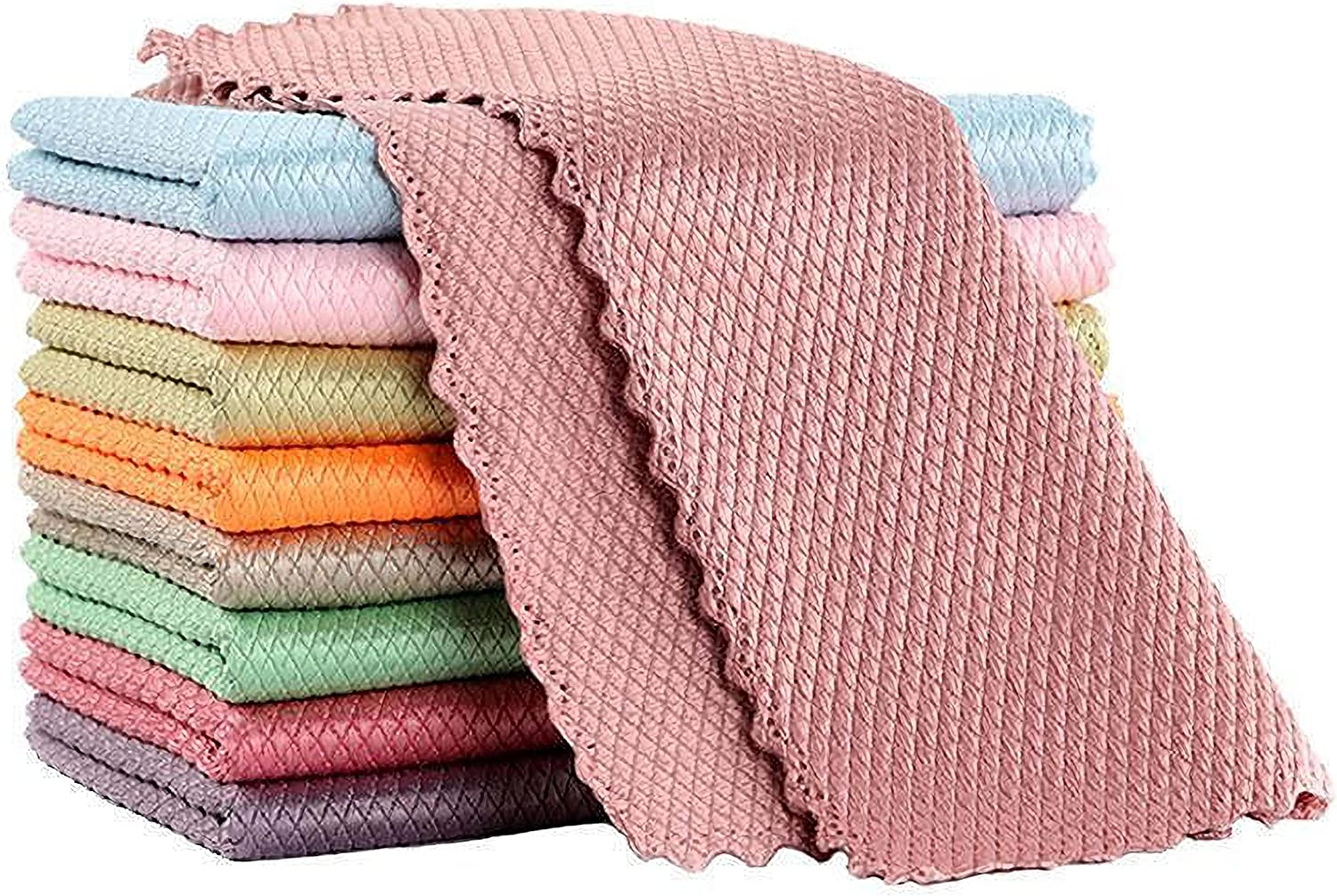 10 Pack Kitchen Towels, 9.89.8 Inches Dish Towels, Kitchen Decor Dishcloths for Washing Dishes, Reusable Cleaning Cloths - Super Absorbent, House Warming Presents for New Home (9.89.8 inches)