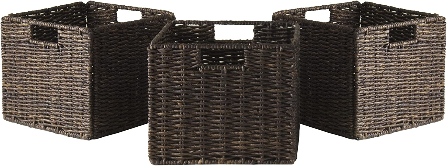 Winsome Granville Foldable 3-Pc Small Corn Husk Baskets, Chocolate