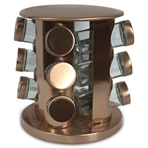 Rotating Kitchen Spice Rack Carousel 12 Jar Organizer for a Clutter free Counter Top Light Copper - Grand Sierra Designs