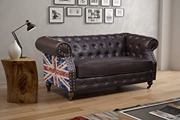 LoveSofas Chesterfield Flag 3 2 1 Seater Bonded Leather Retro Style Studded  Sofa Suite   Brown