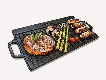 Placa de plancha reversible Homiu de hierro fundido con asas para un fácil transporte, uso en estufas y parrillas para una cocción rápida y fácil.