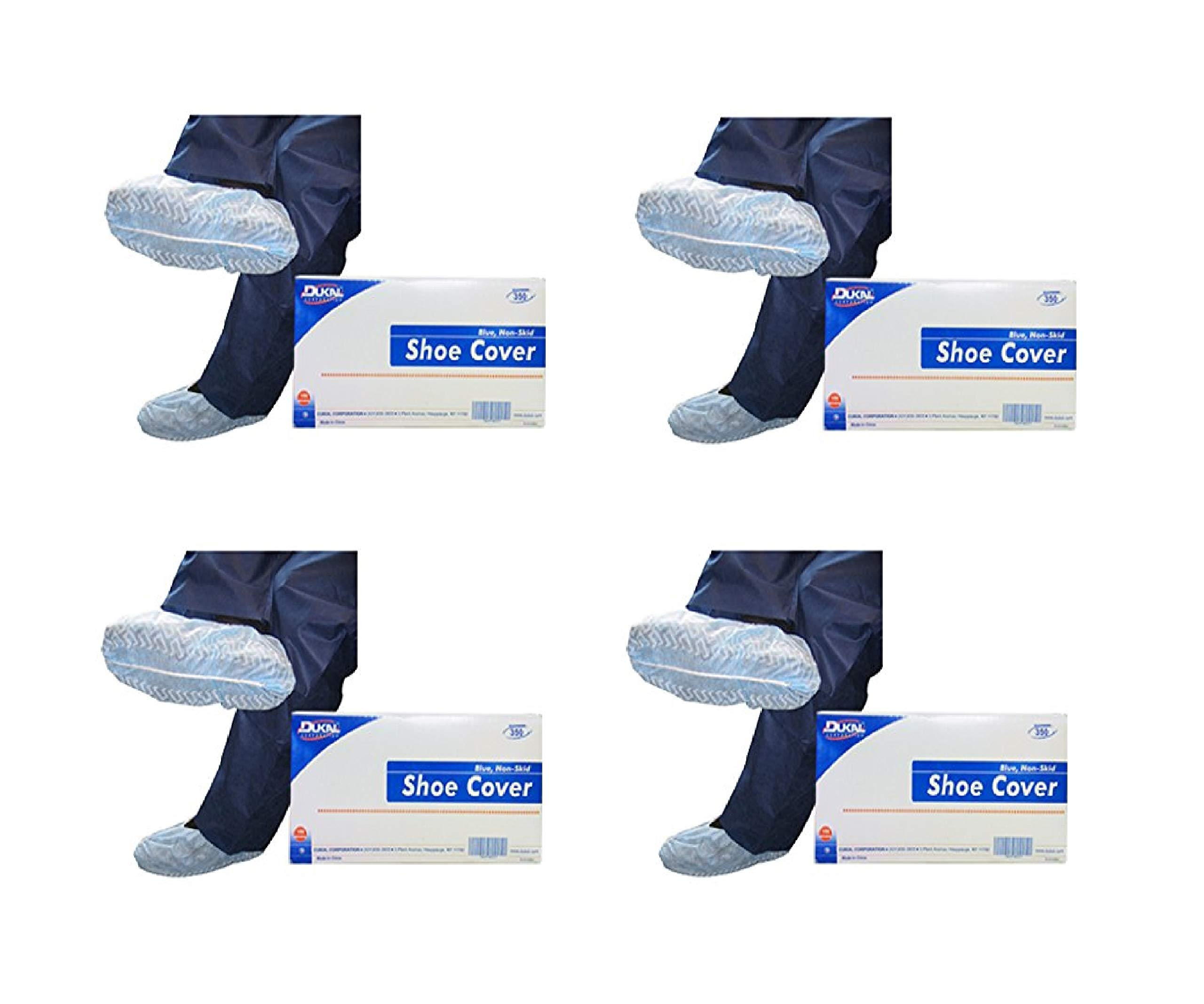 Dukal 350E Shoe Cover, One Size, Blue, 300 Count (4 Pack)