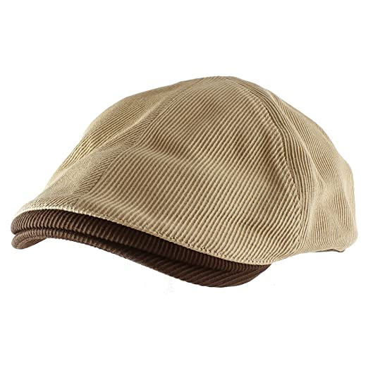 bbabcd162fb Morehats 100% Cotton Corduroy Two Tone Newsboy Cap Irish Hunting Gatsby Cabbie  Hat - Beige