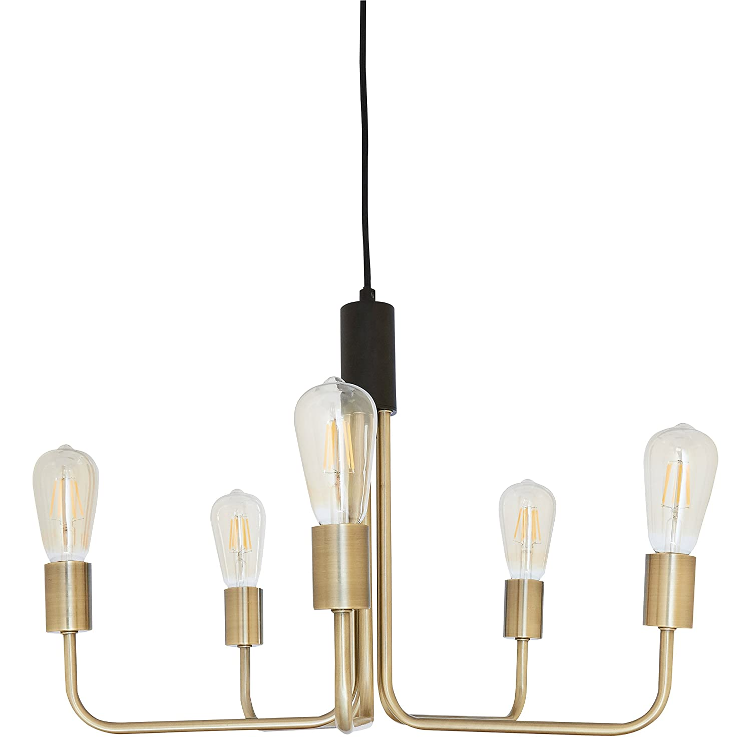 """Rivet Theory Edison Bulb Chandelier 14 5""""H With Bulbs Black and"""