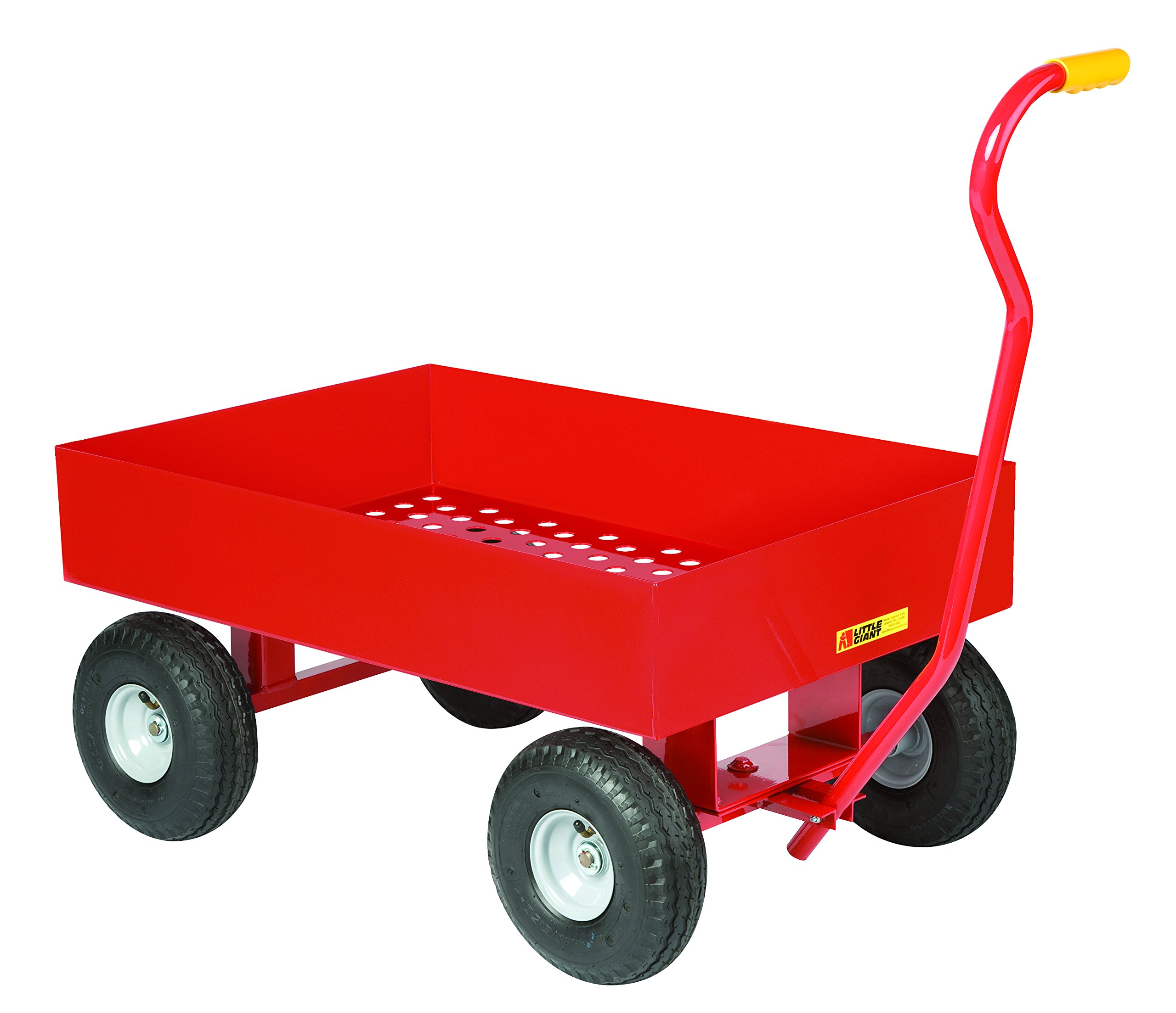 Little Giant LDWP2436-X6-10P Wagon Trucks, Steel Deck, 1200 lb, 10'' Pneumatic, 6'' Lip, Perforated Deck, 28'' Length, 37'' Width, 14'' Height