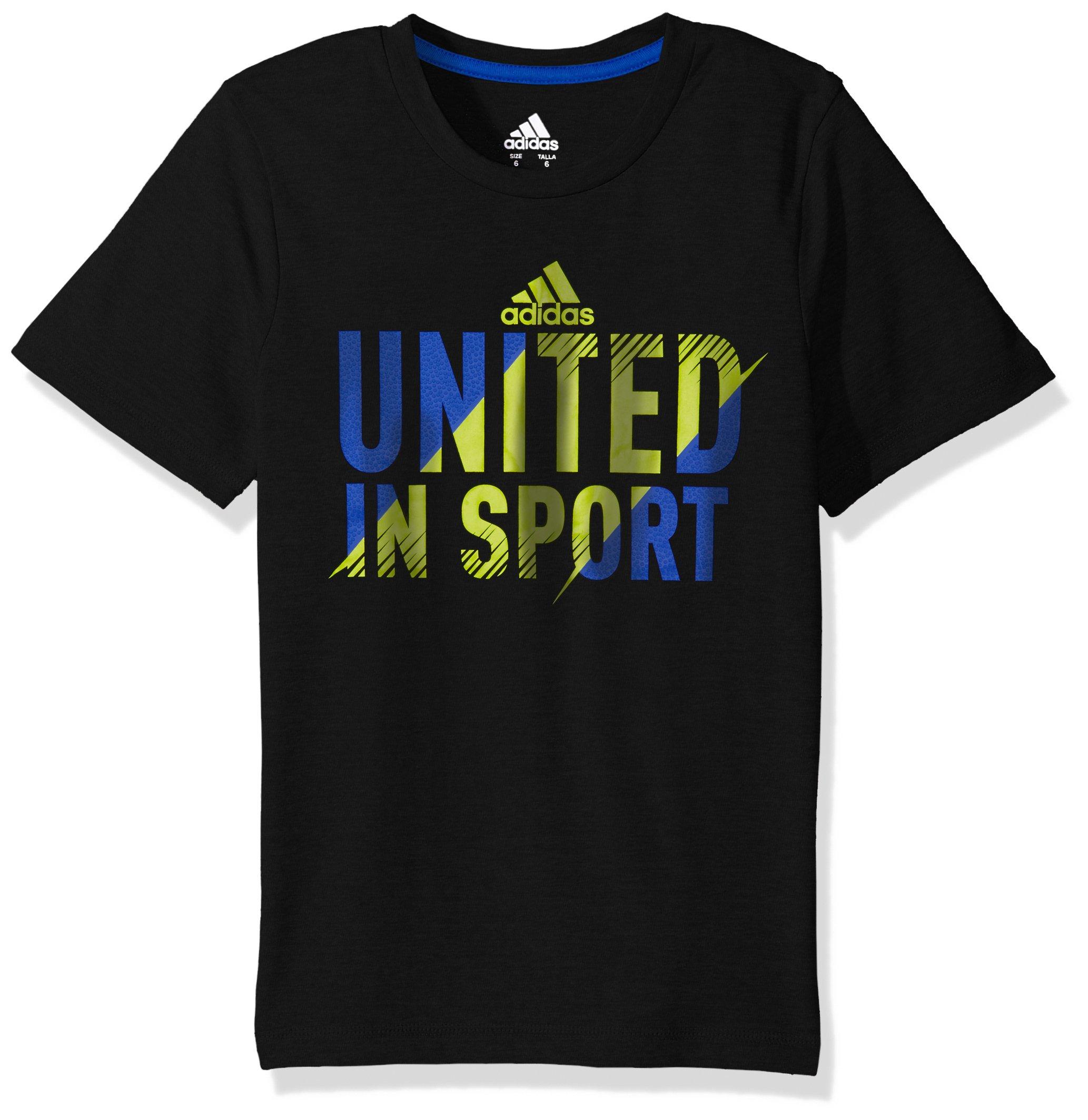 adidas Boys' Big Short Sleeve Graphic Tee Shirts, United Black, Medium