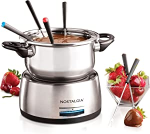 Nostalgia FPS200 6-Cup Stainless Steel Electric Fondue Pot with Temperature Control, 6 Color-Coded Forks and Removable Pot - Perfect for Chocolate, Caramel, Cheese, Sauces and More