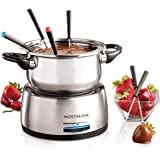 Nostalgia FPS200 6-Cup Stainless Steel Electric Fondue Pot with Temperature Control, 6 Color-Coded Forks and Removable…