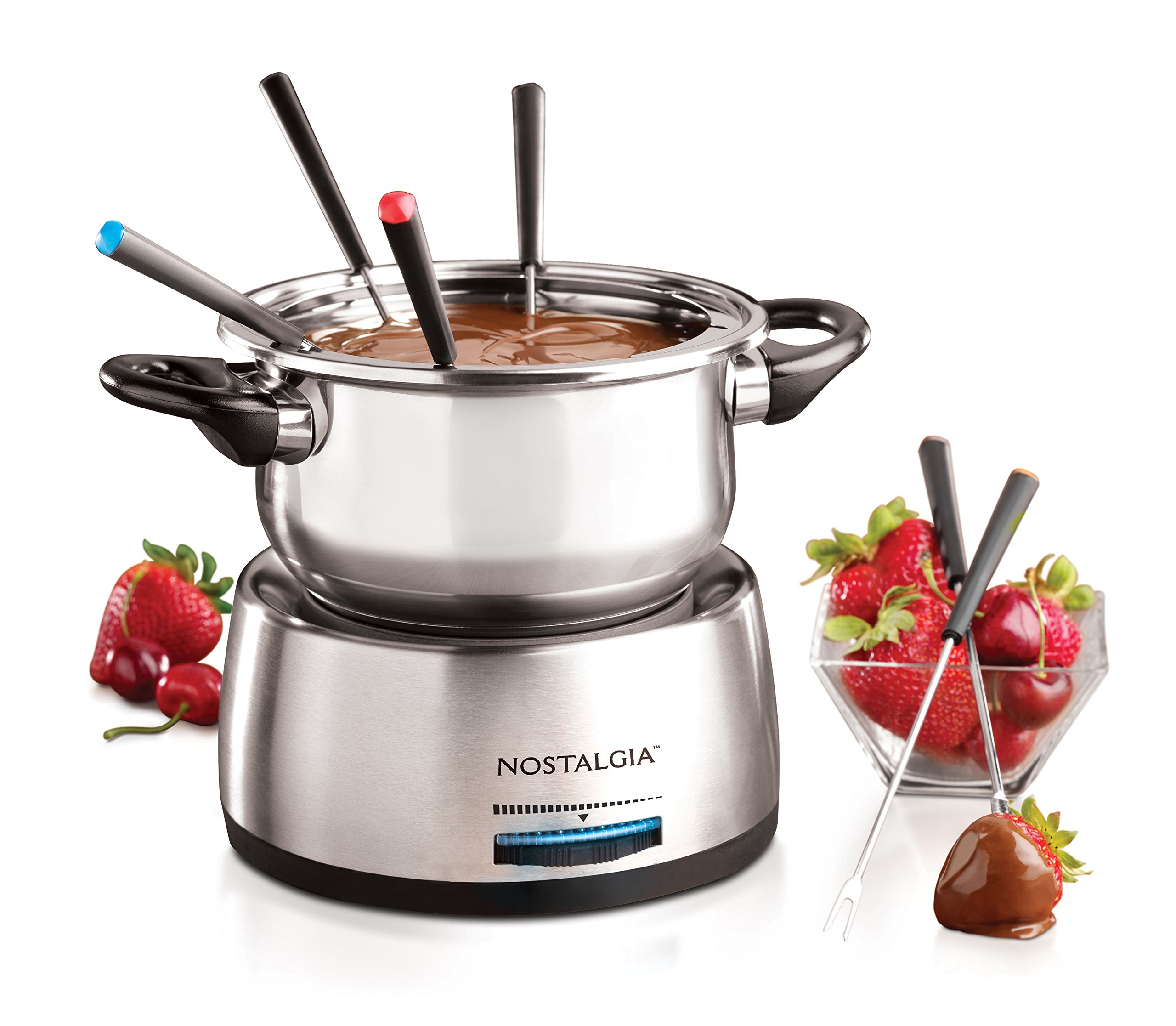 Nostalgia FPS200 6-Cup Stainless Steel Electric Fondue Pot with Temperature Control, 6 Color-Coded Forks and Removable Pot - Perfect for Chocolate, Caramel, Cheese, Sauces and More by Nostalgia