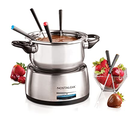 Nostalgia FPS200 6-Cup Stainless Steel Electric Fondue Pot with Temperature Control, 6 Color-Coded Forks and Removable Pot – Perfect for Chocolate, Caramel, Cheese, Sauces and More