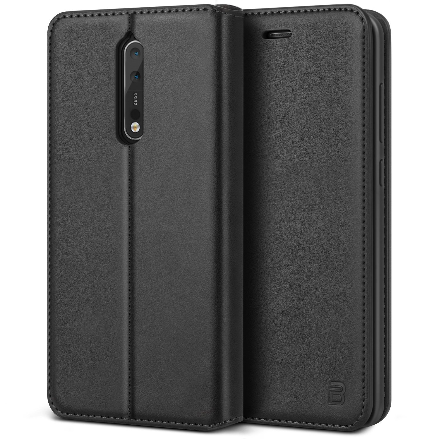 on sale 18a6a a93a2 BEZ Case for Nokia 8 Case, Protective PU Leather Wallet Flip Phone Cover  Compatible with Nokia 8 with A Card Holder, Kick Stand, Magnetic Closure,  ...
