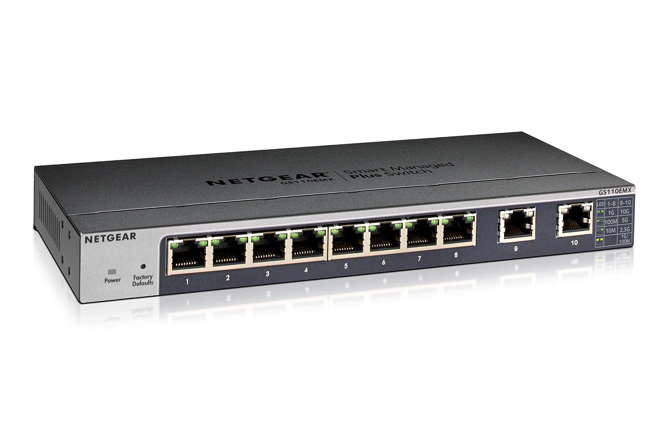 Netgear 8-port Gigabit Smart Managed Plus Switch with 2-Port 10-Gigabit/Multi-Gigabit (GS110EMX-100NAS)