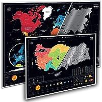 Eyaletli Güneş Sistemli Kazınabilir Dünya + Türkiye 2'li Harita Seti Büyük Boy Yeni Versiyon Black