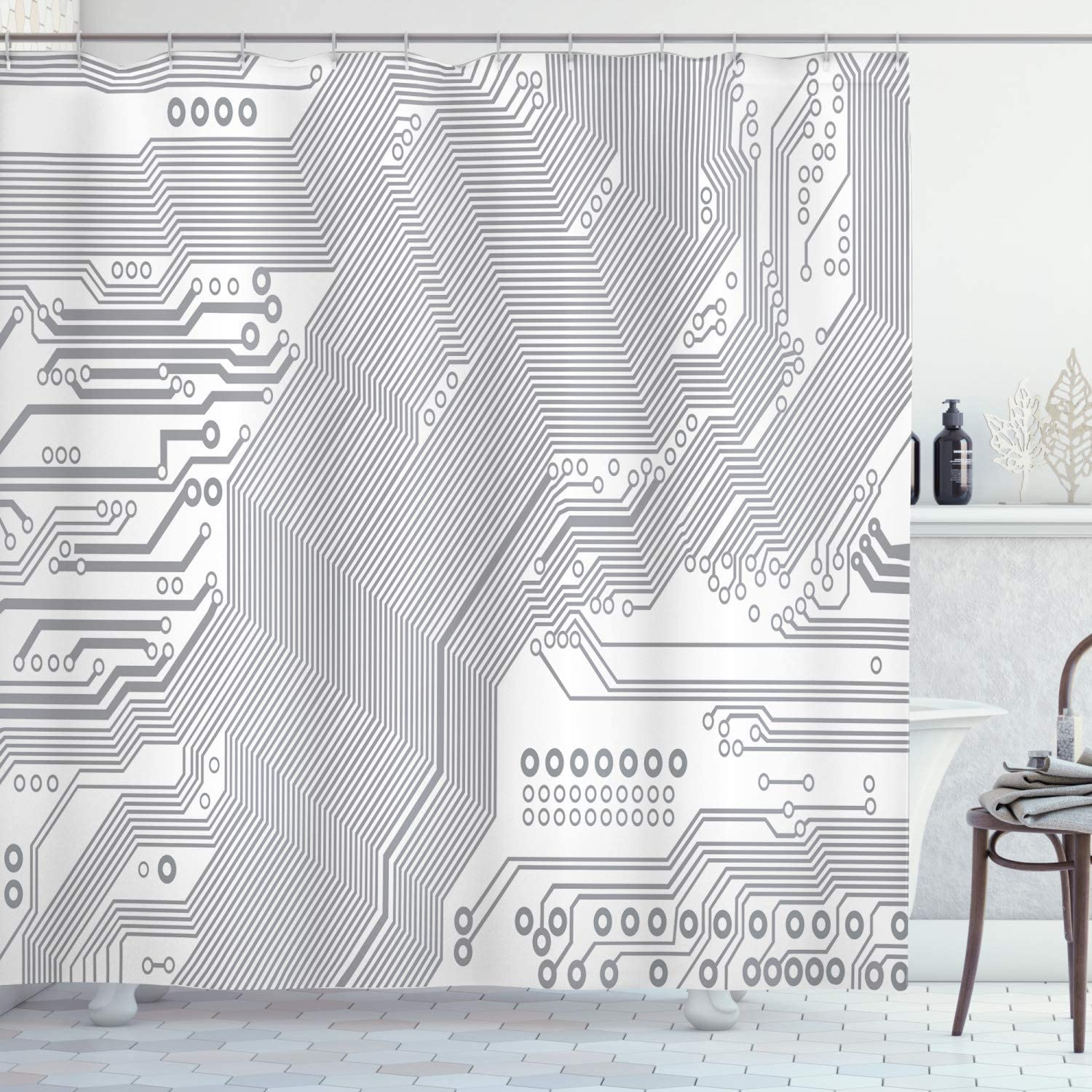 Ambesonne Digital Shower Curtain, Computer Motherboard Electronic Hardware Technical Display Futuristic Plan Design, Cloth Fabric Bathroom Decor Set with Hooks, 84