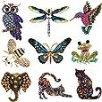 Tacobear 9 Piezas Conjunto de Broche de Mujer Broches de Animales Insectos Coloridos Broche de Cristal de Insectos para Favores de Fiesta de Niñas Mujeres