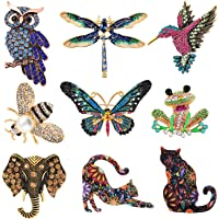 9 Pcs Brooches for Women Rhinestone Brooch Pin Cat Bee Butterfly Frog Dragonfly Hummingbird Owl Elephant Cute Vintage Animal Crystal Pin for Girls