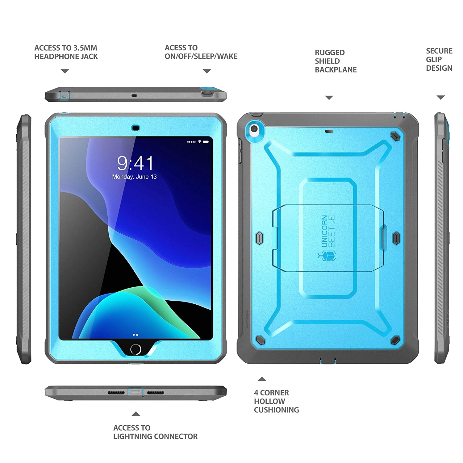 Unicorn Beetle Pro Series with Built-in Screen Protector and Dual Layer Full Body Rugged Protective Case for iPad 10.2 Inch 2019 iPad 7th Generation, Blue SUPCASE Case Designed for iPad 10.2 2019