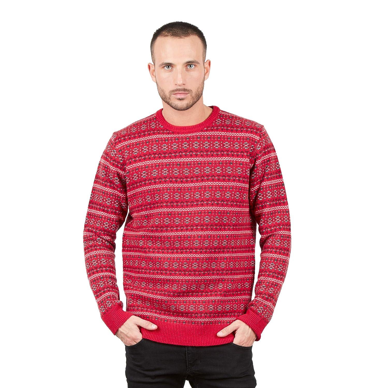 TALLA XL. BRUNELLA GORI Suéter Jersey de Cuello Redondo Jacquard para Hombre en 100% Lana de Cordero en Rojo