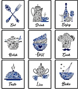 9 Pieces Kitchen Decor Posters Blue Vintage Kitchen Wall Decoration Mosaic Pictures Dining Room Wall Art Funny Motivational Inspirational Wall Decor for Restaurant Bar Cafe Home, Unframed, 8 x 10 Inch